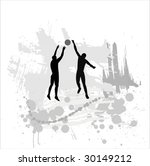 silhouette of the volleyball... | Shutterstock . vector #30149212