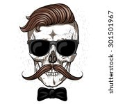 Hipster Skull With Mustache An...
