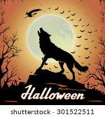 halloween background with... | Shutterstock .eps vector #301522511