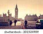 westminster bridge at sunset ... | Shutterstock . vector #301524989