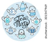 many teapots are on the... | Shutterstock .eps vector #301547969