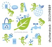 set of eco elements and frogs | Shutterstock .eps vector #301549889