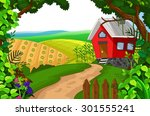 beauty red house with landscape ... | Shutterstock .eps vector #301555241
