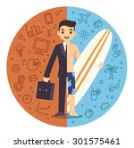 life and work balance. young... | Shutterstock . vector #301575461