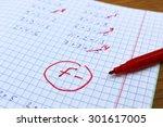 errors corrected in red pen in...   Shutterstock . vector #301617005