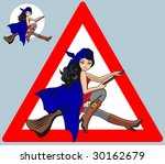 sign on a witch flying on a... | Shutterstock .eps vector #30162679