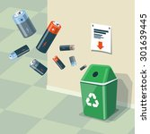 illustration of used batteries... | Shutterstock .eps vector #301639445
