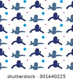 silhouette of small swimming... | Shutterstock .eps vector #301640225