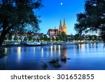 cathedral view over danube... | Shutterstock . vector #301652855