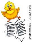 little chicken bouncing on the... | Shutterstock .eps vector #301654541