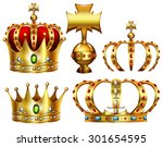 golden crowns with different... | Shutterstock .eps vector #301654595