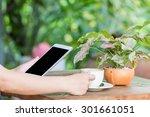 close up of hands woman using... | Shutterstock . vector #301661051