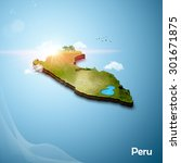 realistic 3d map of peru | Shutterstock . vector #301671875
