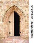 Church Doors  Half Opened With...
