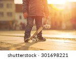 child with skateboard on the... | Shutterstock . vector #301698221