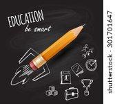 smart education. rocket ship... | Shutterstock .eps vector #301701647