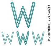 teal line w logo design set