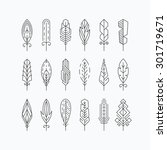 graphical mono line feathers... | Shutterstock .eps vector #301719671