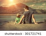 happiness father and son on the ... | Shutterstock . vector #301721741