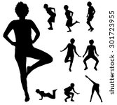 black silhouette of woman on... | Shutterstock .eps vector #301723955