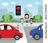crossing the road. red light....   Shutterstock .eps vector #301724444