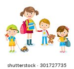 cute kids with toys | Shutterstock .eps vector #301727735
