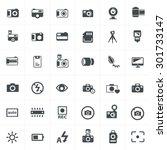 vector black camera icon set on ... | Shutterstock .eps vector #301733147