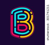 b letter logo with neon line or ...