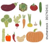 fresh vegetables set . hand... | Shutterstock .eps vector #301742411