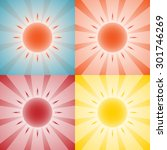 set of 4 backgrounds with sun... | Shutterstock . vector #301746269