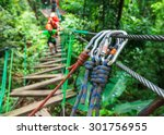 safety of zipline adventure | Shutterstock . vector #301756955