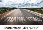 thank you written on rural road | Shutterstock . vector #301760414