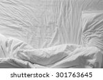 top view of white bedding and... | Shutterstock . vector #301763645