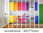 Colorful Kitchen In Rainbow...