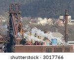 Steel mill blast furnace. - stock photo