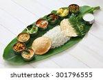meals served on banana leaf ...   Shutterstock . vector #301796555