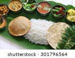 meals served on banana leaf ... | Shutterstock . vector #301796564