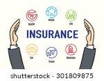 vector   hand protect insurance ... | Shutterstock .eps vector #301809875