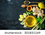 Stock photo cup of ginger tea with lemon and honey on slate plate 301831169