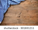 blue checkered tablecloth on... | Shutterstock . vector #301831211