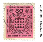 Old canceled german stamp with Church anniversary - stock photo