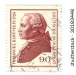 Old canceled german stamp with Kant - stock photo