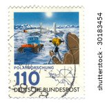 Old canceled german stamp with Polar Exploration - stock photo