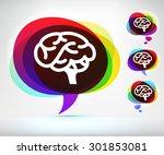 human brain on colorful speech... | Shutterstock .eps vector #301853081