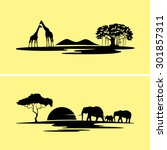 africa monochrome landscape | Shutterstock . vector #301857311