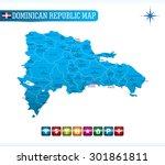 dominican republic blue map | Shutterstock .eps vector #301861811