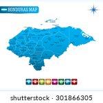 honduras blue map | Shutterstock .eps vector #301866305