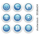 blue and white mobile button icons - stock vector