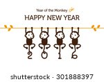 new year card with monkey for... | Shutterstock .eps vector #301888397