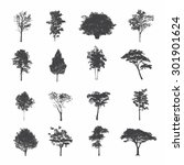 set of silhouettes of trees | Shutterstock .eps vector #301901624